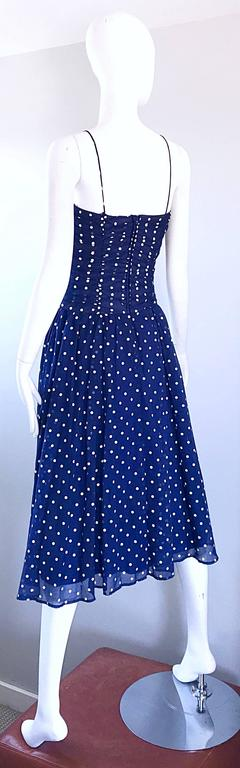 Chic Vintage Navy Blue and White Hand Painted Polka Dot Sleeveless Ruched Dress For Sale 3