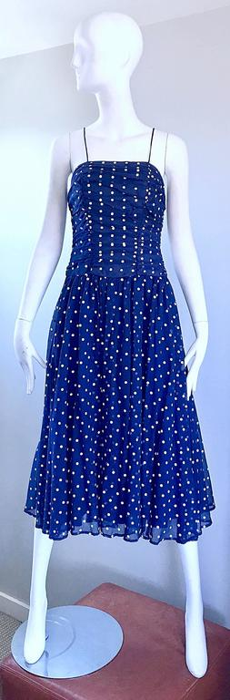 Chic Vintage Navy Blue and White Hand Painted Polka Dot Sleeveless Ruched Dress For Sale 5
