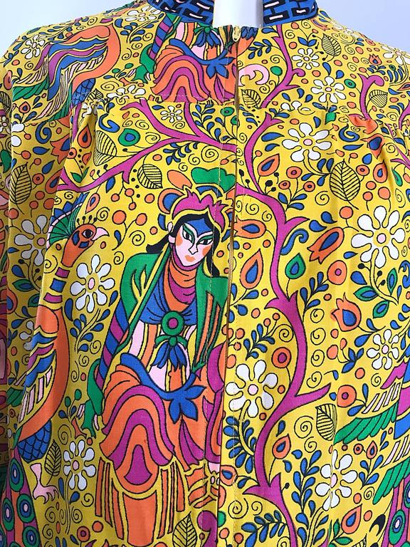 Amazing 1960s Asian Empress Novelty Print Cotton Vintage 60s Tunic Dress  3