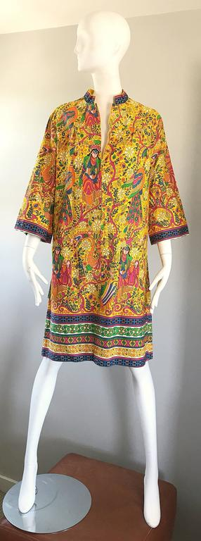 Amazing 1960s Asian Empress Novelty Print Cotton Vintage 60s Tunic Dress  4