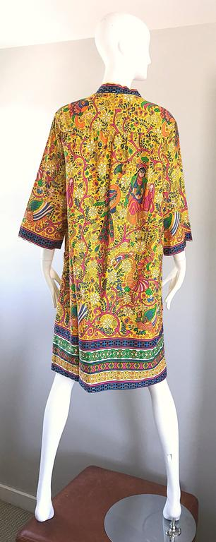 Amazing 1960s Asian Empress Novelty Print Cotton Vintage 60s Tunic Dress  6