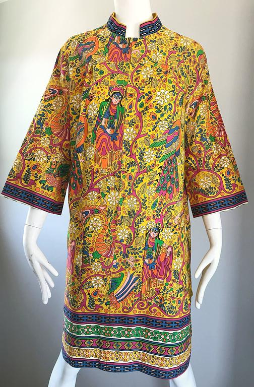 Amazing 1960s Asian Empress Novelty Print Cotton Vintage 60s Tunic Dress  7