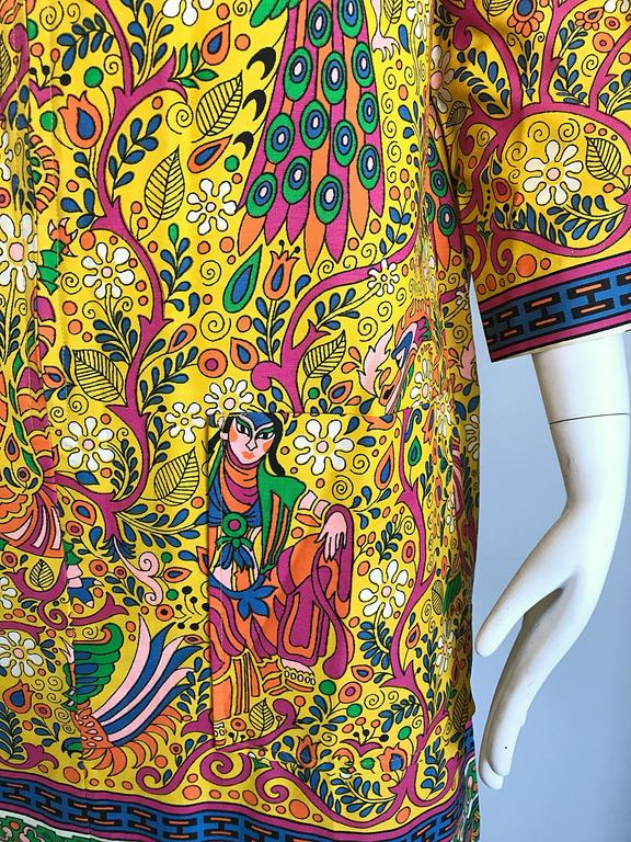 Amazing 1960s Asian Empress Novelty Print Cotton Vintage 60s Tunic Dress  8