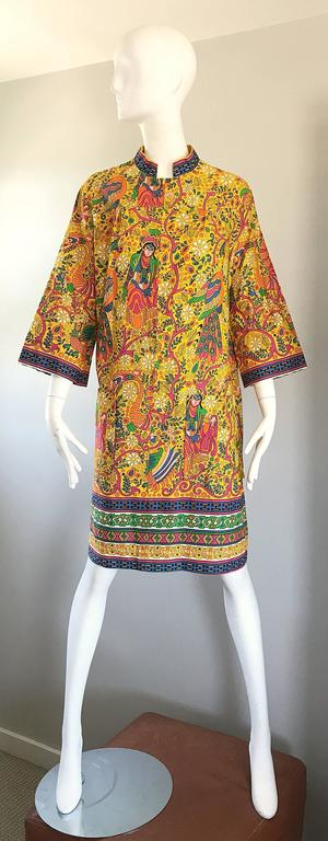 Amazing 1960s Asian Empress Novelty Print Cotton Vintage 60s Tunic Dress  10