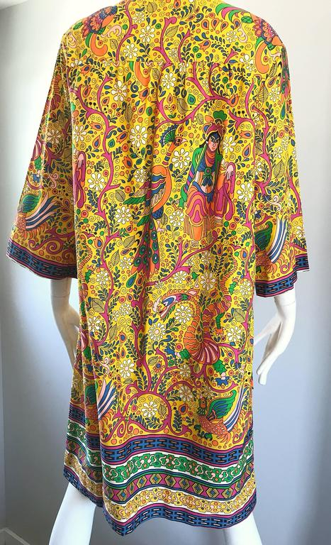Amazing 1960s Asian Empress Novelty Print Cotton Vintage 60s Tunic Dress  9