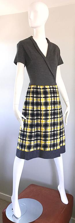 Women's 1960s Yellow, Gray, Black, White Wool Plaid Vintage 60s Wrap Style A Line Dress For Sale