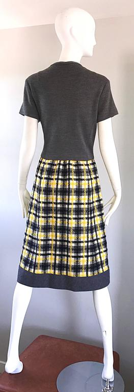 1960s Yellow, Gray, Black, White Wool Plaid Vintage 60s Wrap Style A Line Dress For Sale 1