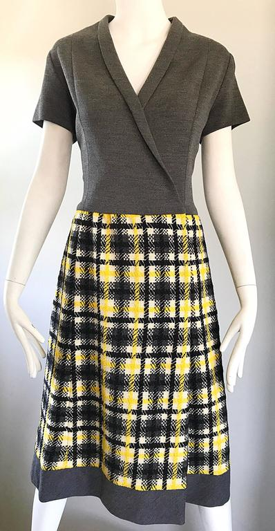 1960s Yellow, Gray, Black, White Wool Plaid Vintage 60s Wrap Style A Line Dress For Sale 2