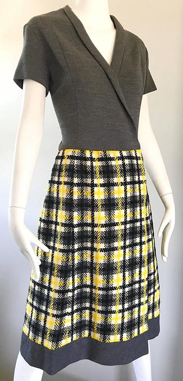 1960s Yellow, Gray, Black, White Wool Plaid Vintage 60s Wrap Style A Line Dress For Sale 3