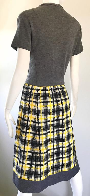 1960s Yellow, Gray, Black, White Wool Plaid Vintage 60s Wrap Style A Line Dress For Sale 4