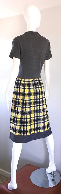 1960s Yellow, Gray, Black, White Wool Plaid Vintage 60s Wrap Style A Line Dress For Sale 5