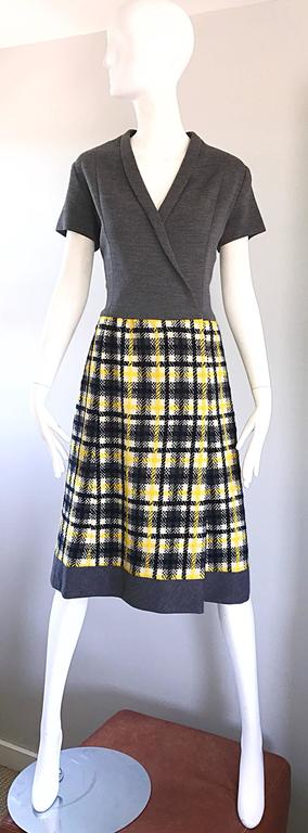 1960s Yellow, Gray, Black, White Wool Plaid Vintage 60s Wrap Style A Line Dress For Sale 6