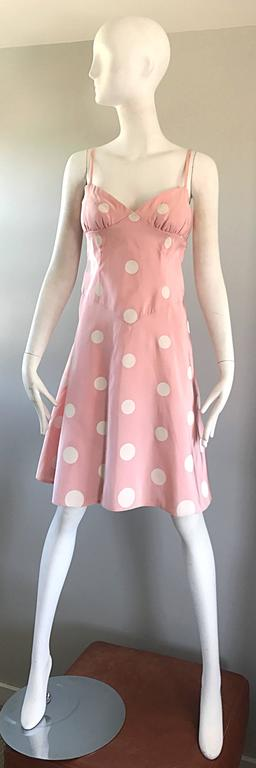 Beige Bill Blass Pink White Polka Dot Hand Painted Fit and Flare Vintage Dress, 1990 For Sale