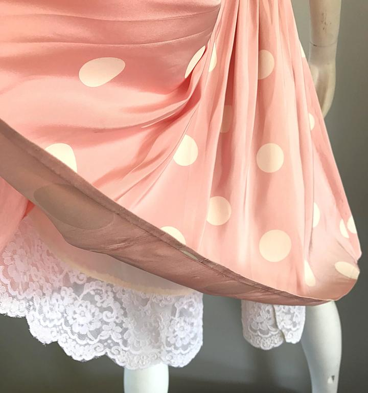 Bill Blass Pink White Polka Dot Hand Painted Fit and Flare Vintage Dress, 1990 In Excellent Condition For Sale In San Francisco, CA
