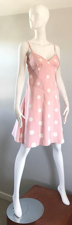 Women's Bill Blass Pink White Polka Dot Hand Painted Fit and Flare Vintage Dress, 1990 For Sale