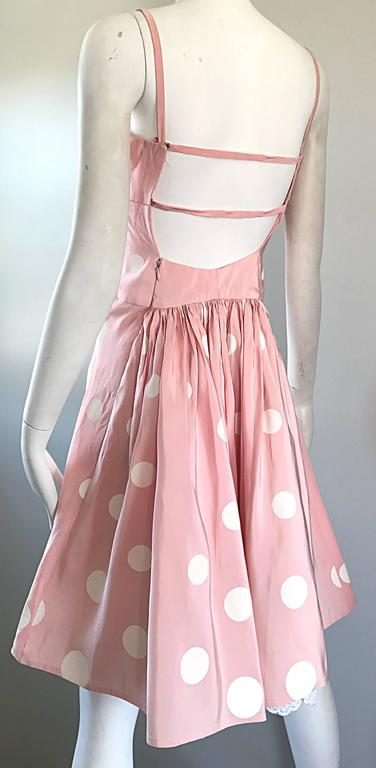 Bill Blass Pink White Polka Dot Hand Painted Fit and Flare Vintage Dress, 1990 For Sale 1