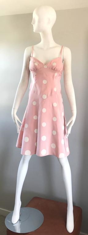 Bill Blass Pink White Polka Dot Hand Painted Fit and Flare Vintage Dress, 1990 For Sale 4