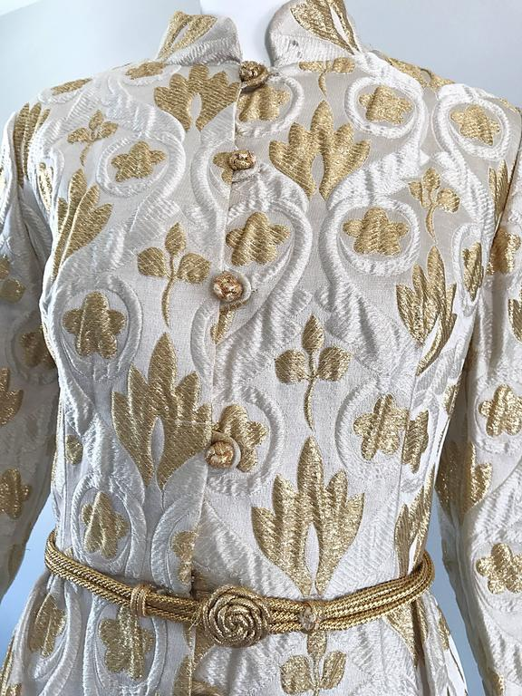 Victor Costa Romantica 1960s Gold + Ivory Silk Brocade Vintage 60s Belted Dress In Excellent Condition For Sale In Chicago, IL