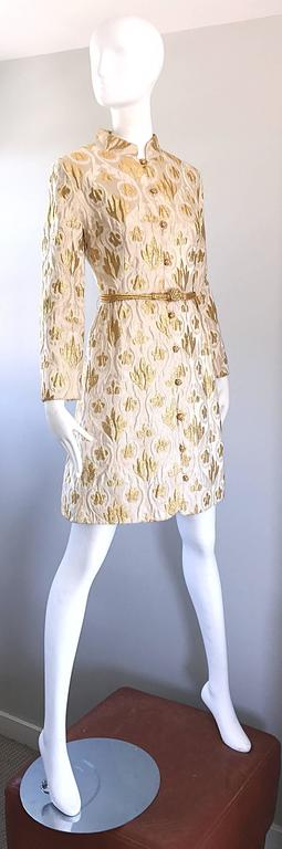 Women's Victor Costa Romantica 1960s Gold + Ivory Silk Brocade Vintage 60s Belted Dress For Sale