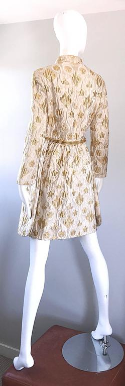 Victor Costa Romantica 1960s Gold + Ivory Silk Brocade Vintage 60s Belted Dress For Sale 1