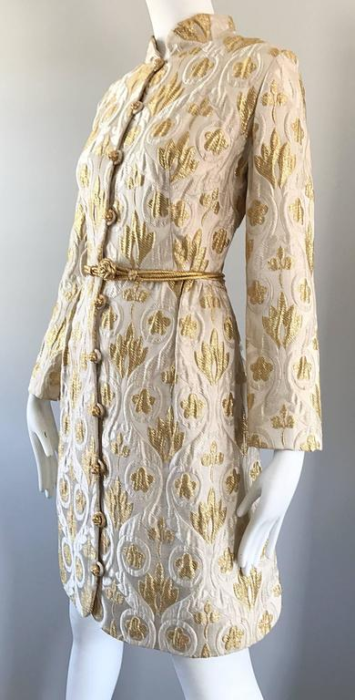 Victor Costa Romantica 1960s Gold + Ivory Silk Brocade Vintage 60s Belted Dress For Sale 2
