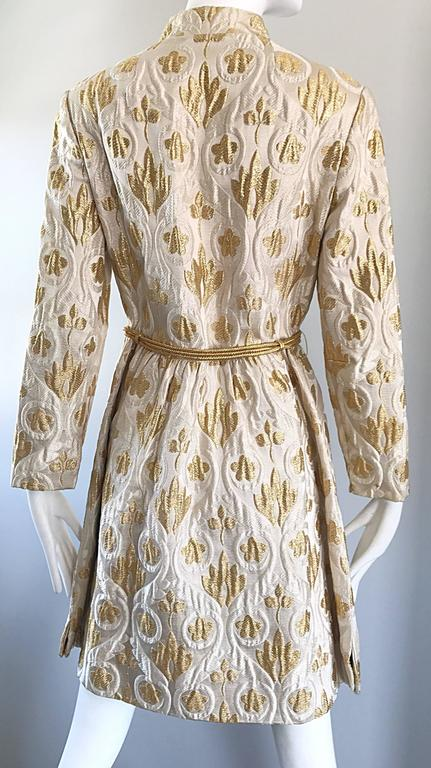 Victor Costa Romantica 1960s Gold + Ivory Silk Brocade Vintage 60s Belted Dress For Sale 3