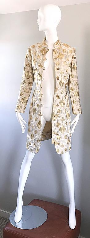 Victor Costa Romantica 1960s Gold + Ivory Silk Brocade Vintage 60s Belted Dress For Sale 4