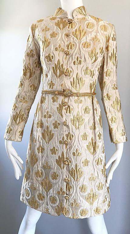 Victor Costa Romantica 1960s Gold + Ivory Silk Brocade Vintage 60s Belted Dress For Sale 5