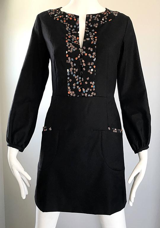 1990s Chloe by Karl Lagerfeld Black Wool + Silk Long Sleeve Vintage 90s Dress In Excellent Condition For Sale In Chicago, IL