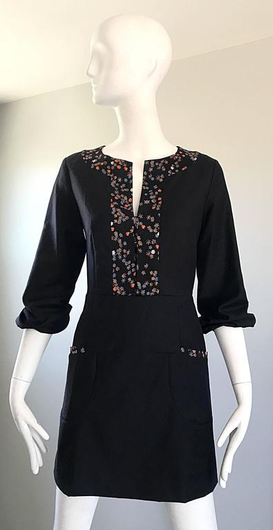 Women's 1990s Chloe by Karl Lagerfeld Black Wool + Silk Long Sleeve Vintage 90s Dress For Sale