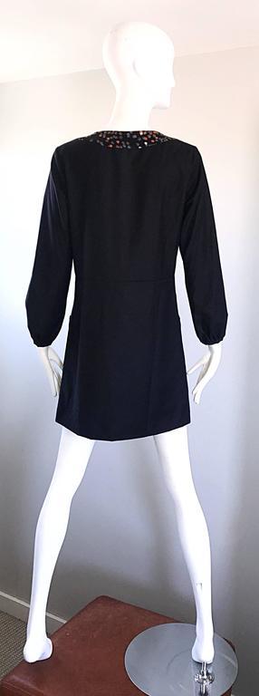 1990s Chloe by Karl Lagerfeld Black Wool + Silk Long Sleeve Vintage 90s Dress For Sale 1