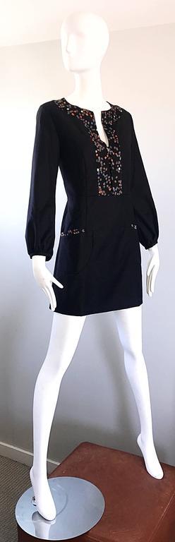 1990s Chloe by Karl Lagerfeld Black Wool + Silk Long Sleeve Vintage 90s Dress For Sale 3