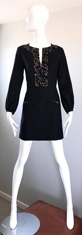 1990s Chloe by Karl Lagerfeld Black Wool + Silk Long Sleeve Vintage 90s Dress For Sale 5