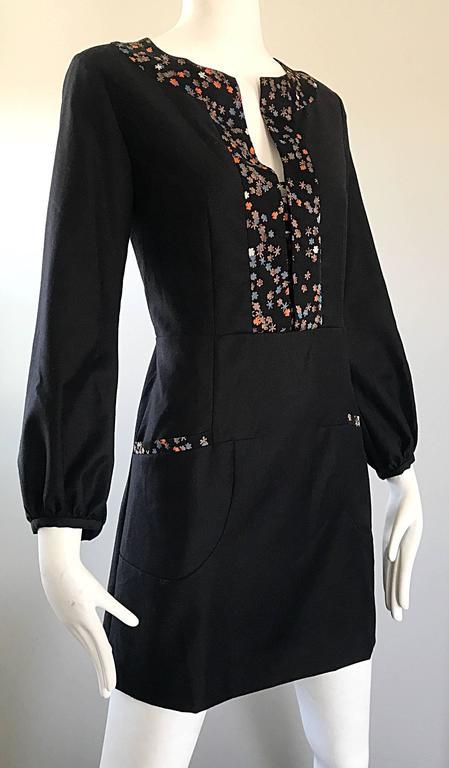 1990s Chloe By Karl Lagerfeld Black Wool Silk Long