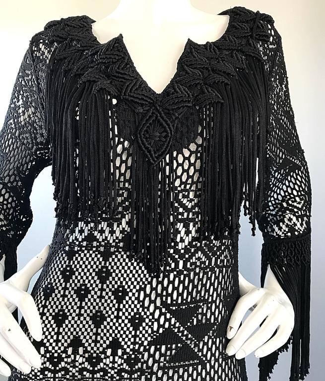 Amazing 1970s Black Hand Crochet Fringe 70s Vintage Embrodiered Boho Maxi Dress In Excellent Condition For Sale In Chicago, IL