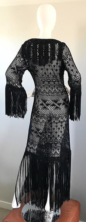 Amazing 1970s Black Hand Crochet Fringe 70s Vintage Embrodiered Boho Maxi Dress For Sale 1