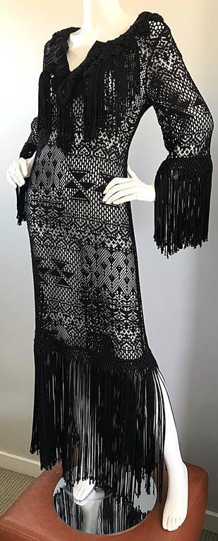 Amazing 1970s Black Hand Crochet Fringe 70s Vintage Embrodiered Boho Maxi Dress For Sale 2