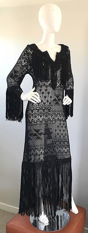 Amazing 1970s Black Hand Crochet Fringe 70s Vintage Embrodiered Boho Maxi Dress For Sale 3