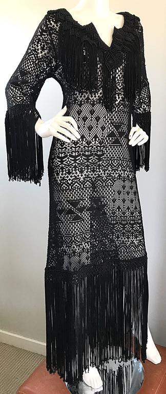 Amazing 1970s Black Hand Crochet Fringe 70s Vintage Embrodiered Boho Maxi Dress For Sale 4