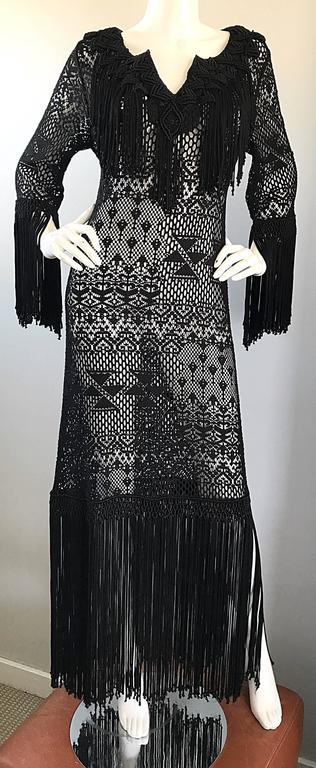 Amazing 1970s Black Hand Crochet Fringe 70s Vintage Embrodiered Boho Maxi Dress For Sale 5