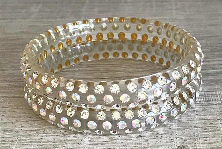 Stunning lucite rhinestone bangle