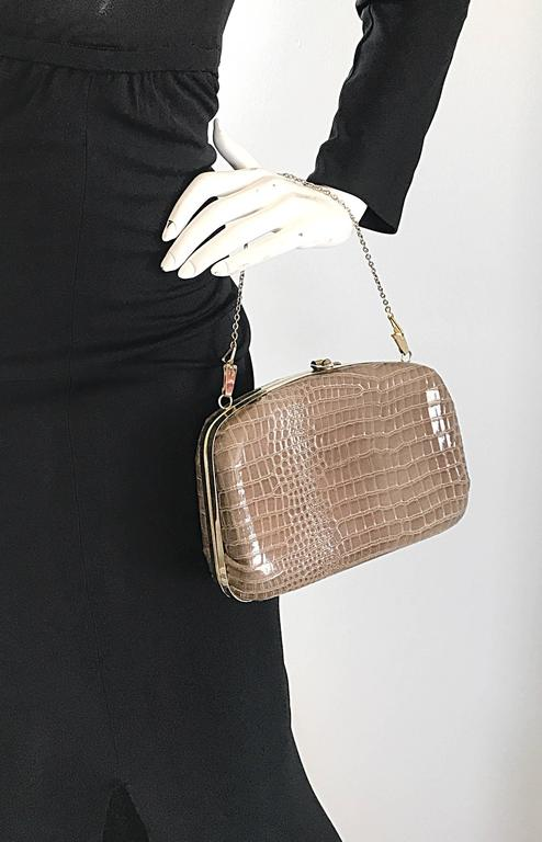 Brown 1940s Italian Taupe Alligator Croc Embossed Vintage 40s Leather Handbag Purse  For Sale
