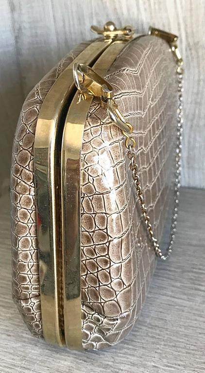 1940s Italian Taupe Alligator Croc Embossed Vintage 40s Leather Handbag Purse  In Excellent Condition For Sale In Chicago, IL