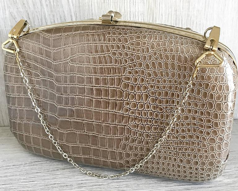 Women's 1940s Italian Taupe Alligator Croc Embossed Vintage 40s Leather Handbag Purse  For Sale