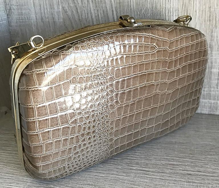 1940s Italian Taupe Alligator Croc Embossed Vintage 40s Leather Handbag Purse  For Sale 1