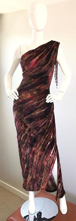 Beautiful Vintage Bob Mackie One Shoulder Silk Velvet Cut Out 1990s Grecian Gown 2