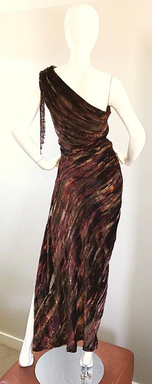 Beautiful Vintage Bob Mackie One Shoulder Silk Velvet Cut Out 1990s Grecian Gown 4