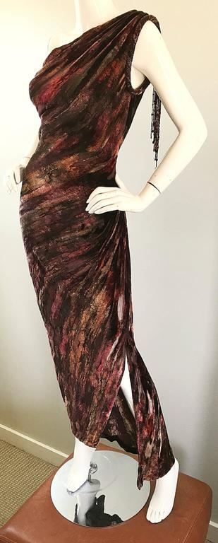 Beautiful Vintage Bob Mackie One Shoulder Silk Velvet Cut Out 1990s Grecian Gown 6