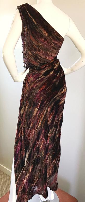 Beautiful Vintage Bob Mackie One Shoulder Silk Velvet Cut Out 1990s Grecian Gown 8