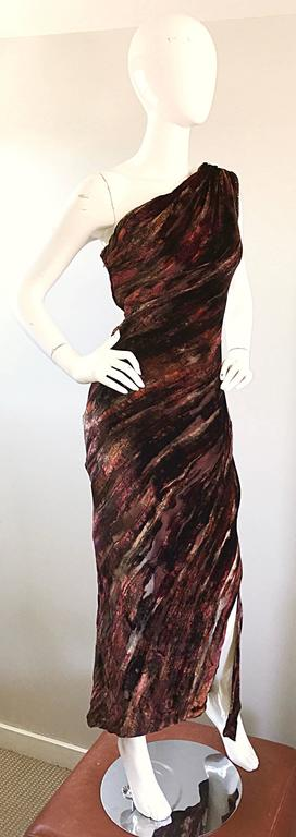 Beautiful Vintage Bob Mackie One Shoulder Silk Velvet Cut Out 1990s Grecian Gown 7
